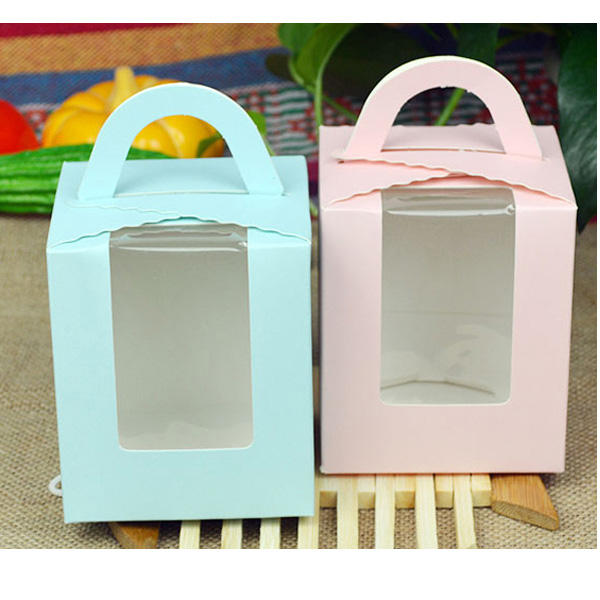Wholesale Portable Clear PVC Window Muffin Cup Cake Box White Paperboard Single Cupcake Box with Handle