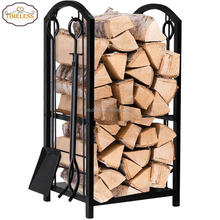 Factory directly black metal outdoor indoor firewood log rack