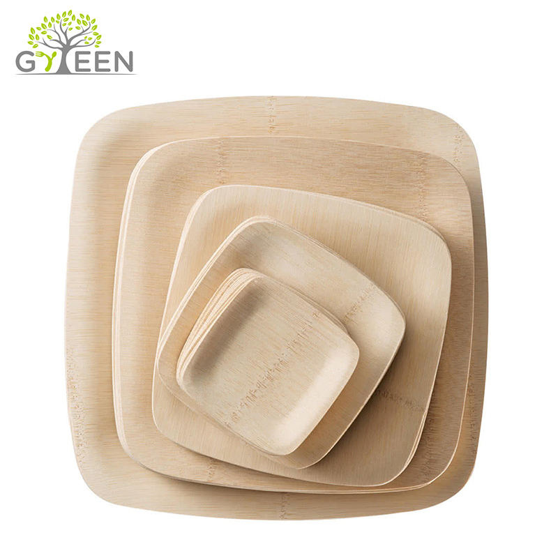 Wholesale Cheap Compostable Disposable Bamboo Food Plate