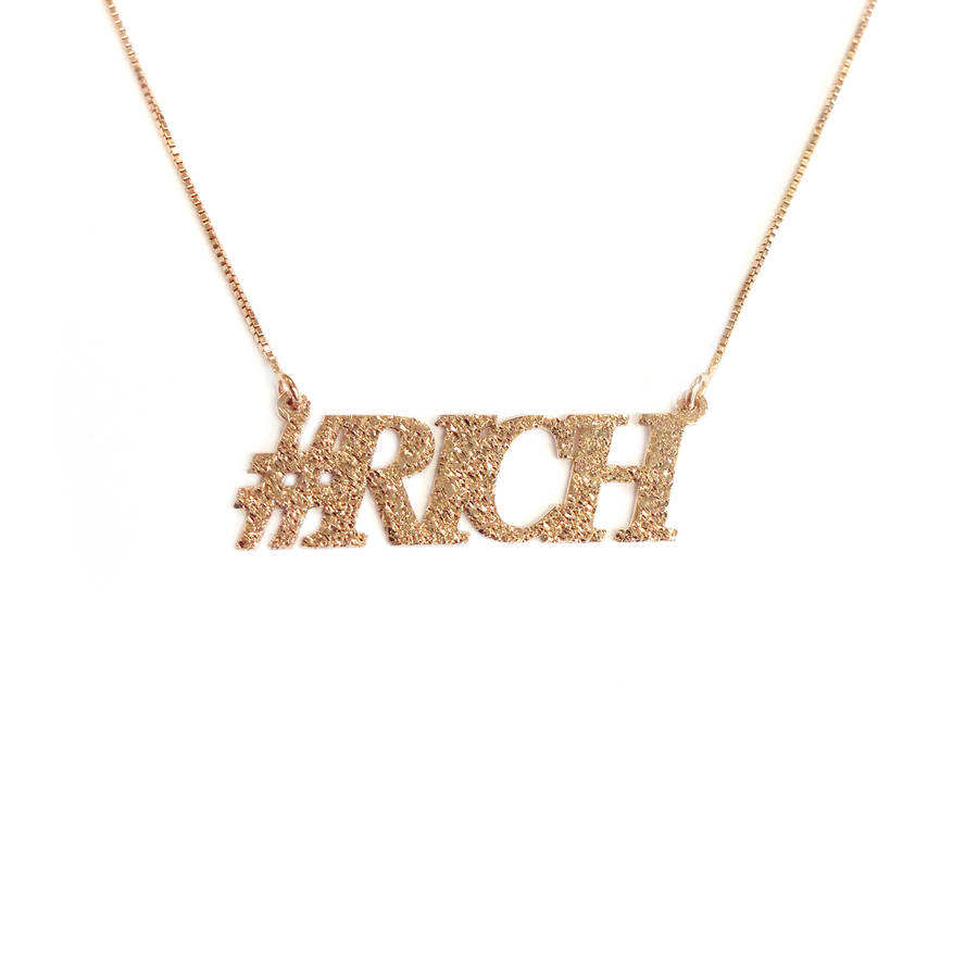 Inspire jewelry stainless steel Personalised name Necklaces for womens gender Hashtag Rich Necklace jewelry type wholesale