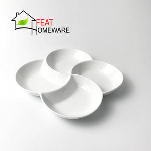 Wholesale Dinnerware 4 Compartments Ceramic Divided Plate