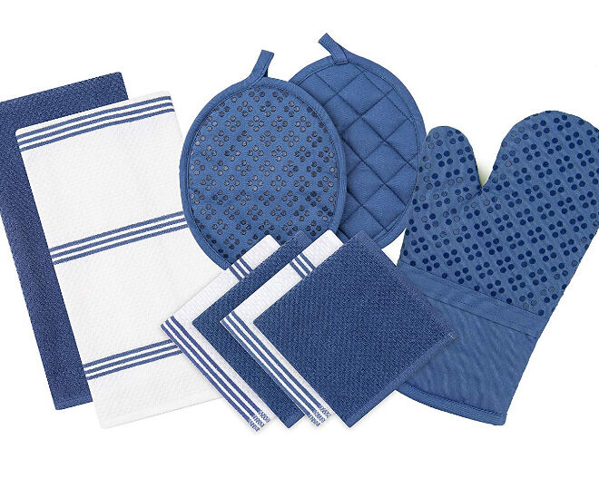 Silicone Printed Oven Mitt & Pot Holder & Cotton Kitchen Dish Towel & Dishcloth Set