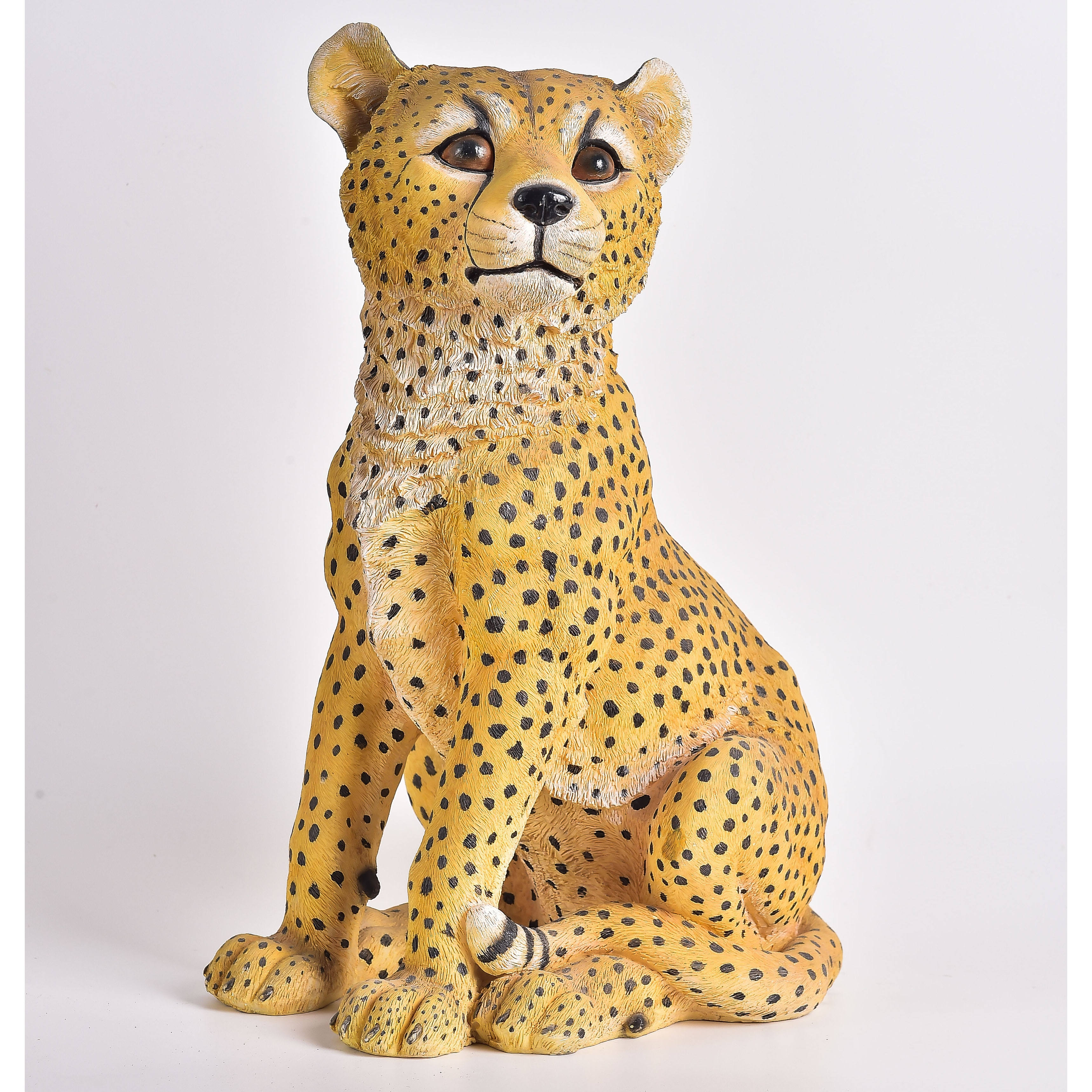 Polyresin material wild animal wholesale resin leopard figurines
