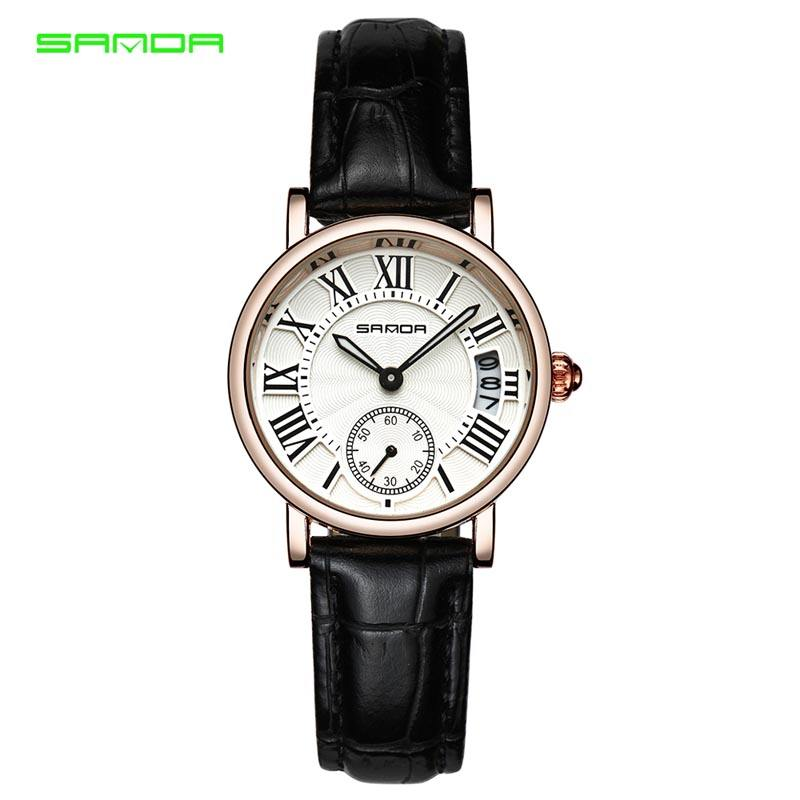 WJ-7559 Retro Classic Minimalist Vogue Best Selling Calendar Charming Colorful Leather Band Ladies SANDA Watch