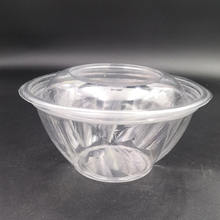 Eco-Friendly disposable clear 24 oz plastic salad bowl with lid