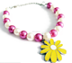 color enamel sun flower charm pearl beads pets kids necklace hot new design pet dog cats animal necklace pet jewelry