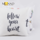 New Arrival Poly And Cotton Fabric Decorative Custom OEM Printing Alphabet textile slogan Design Throw Decorative Pillow Case