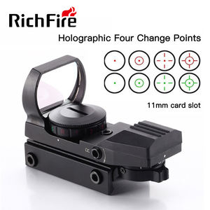 RichFire 4 Reticle Red Green Dot 1X22X33 Scope with 11mm and 21mm Rail Base Red Dot Reflex Sight