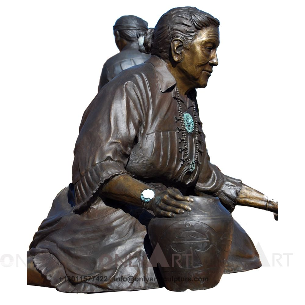 Professional casting bronze real lady sculpture different bronze figure statues with watch