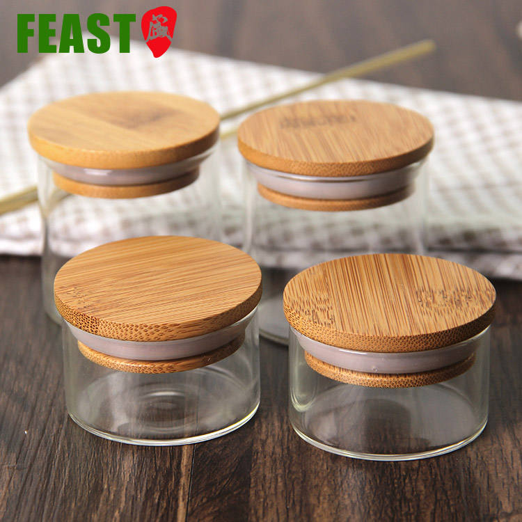 Mini Bamboo Lid Small Spice Jars 2 Oz,Small Spice Jars Bulk,Small Spice Jars Glass