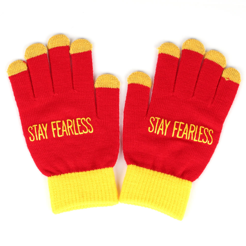 Low MOQ Print Knitted Winter Gloves With Custom Logo