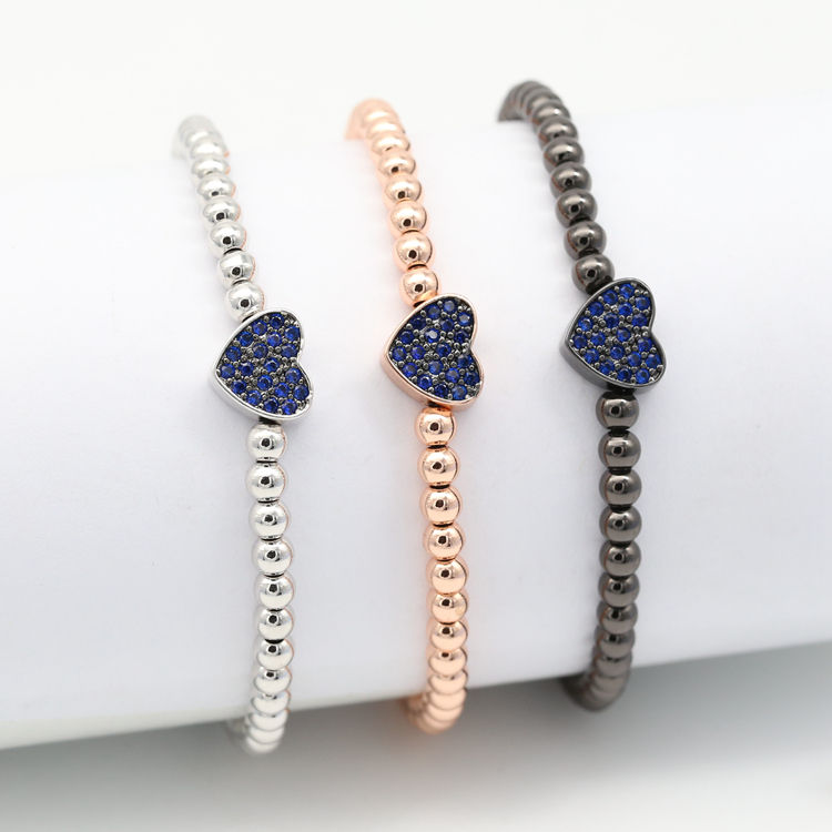 Royal blue Heart Beaded CZ Bracelets Jewelry