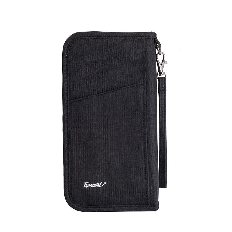 Wholesale Personalised Pouch Wallet Cheap Canvas Fancy Black Travel Long Passport Holder For Man