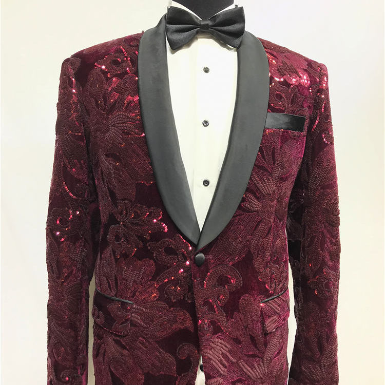 Red beaded suit tuxedo jacket +black pant mens stage wear mens tuxedos wedding plus size 4XL red groom Suit