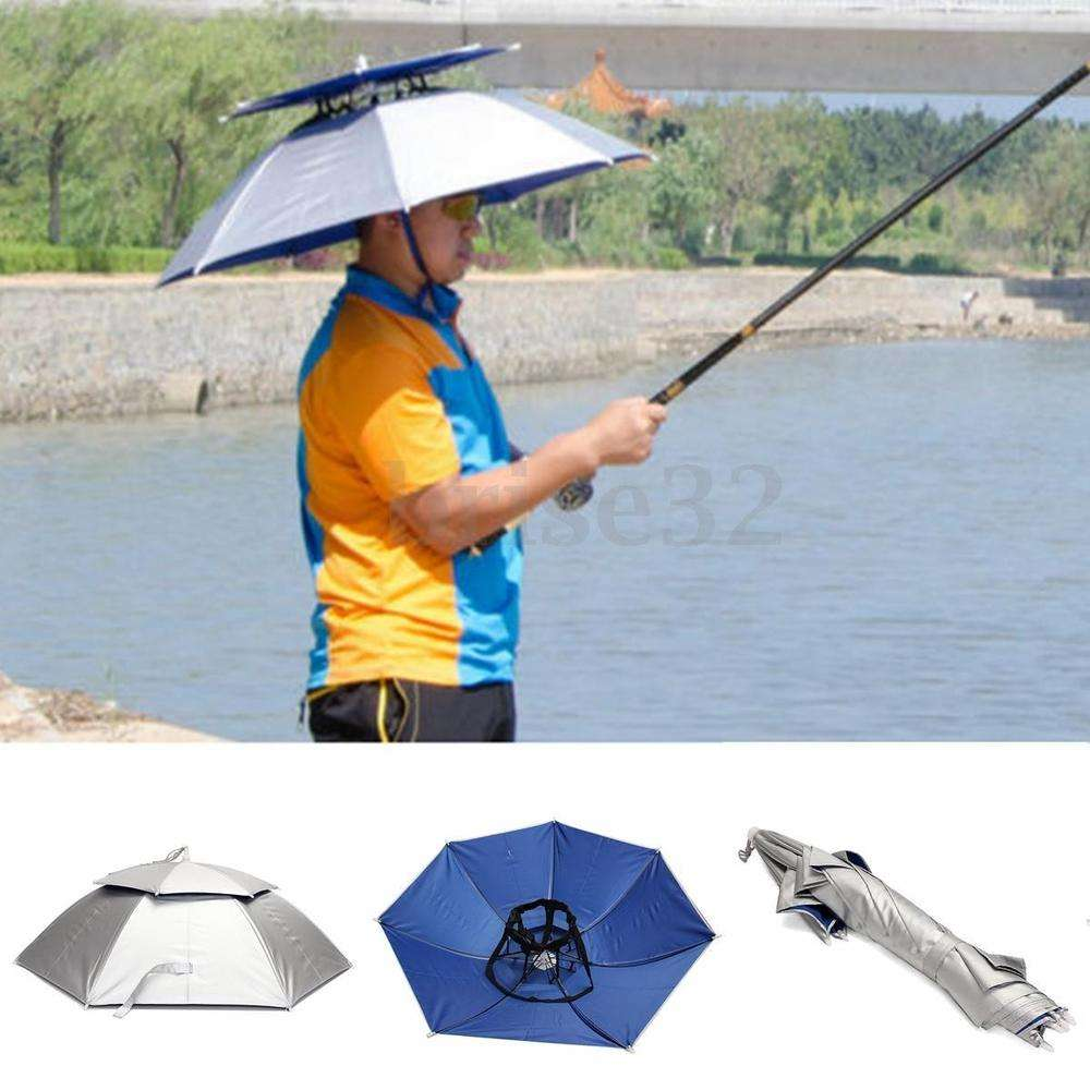 Fishing Hat Headwear Umbrella for Fishing Hiking Beach Camping Cap Head Hats Outdoor Sports Rain Gear Umbrellas