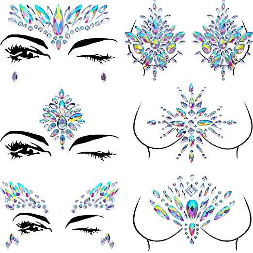 Free sample mermaid face jewels gem festival face rhinestone body gem
