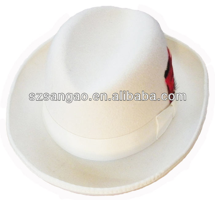 wholesale Perfect fashion white felt homburg hat wool fedora for man or women