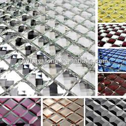 Beveled Glass Mirror Tile Diamond Glass Silver Mirror Mosaic Tile