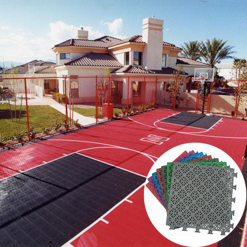 Intelligent PP interlocking portable basketball sport court material plastic tiles temporary basketball flooring outdoor
