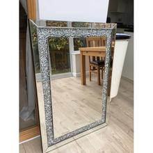 Large rectangle crushed diamond frame home art wall mirror