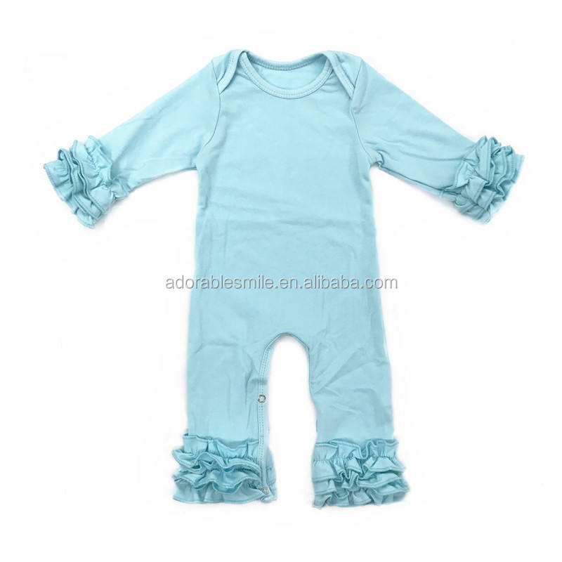 NO MOQ Solid Color Romper Wholesale Baby Ruffle Kids Girls Romper For Baby
