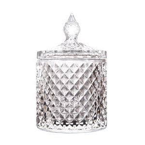 Unique Geo Cut Glass Candle Jar of decorative wedding with lid