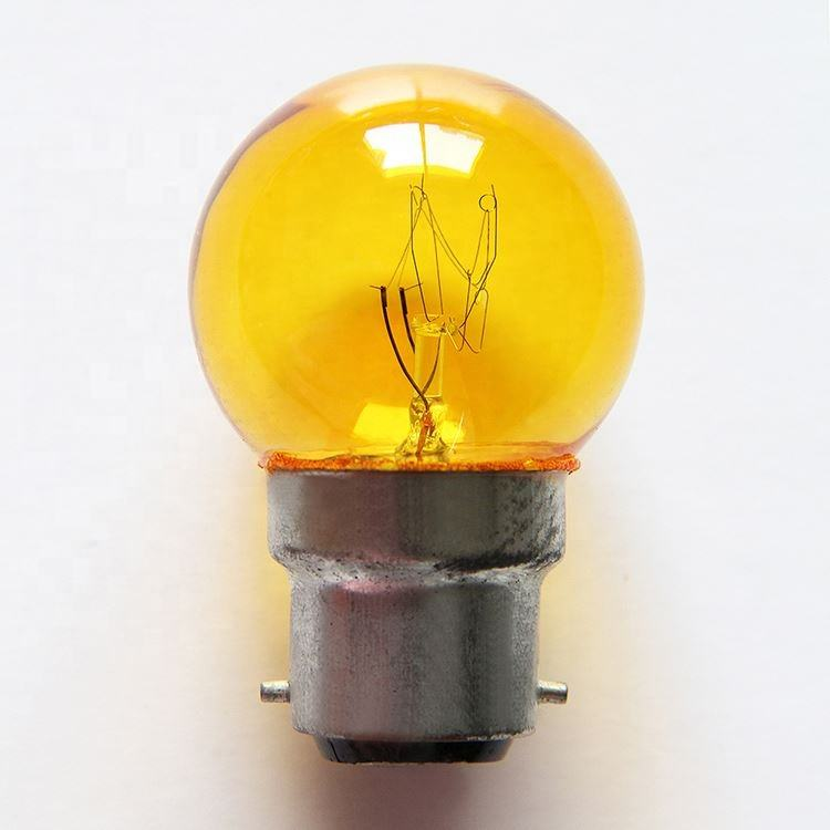 G40 110V 220V E27 B22 5w yellow color Incandescent light bulb for home and other use