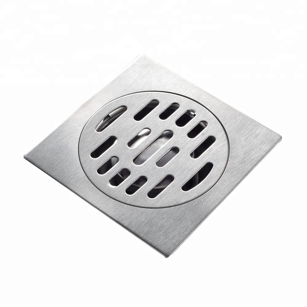 ROVATE bathroom tile Insert stainless steel square floor drain with removable strainer