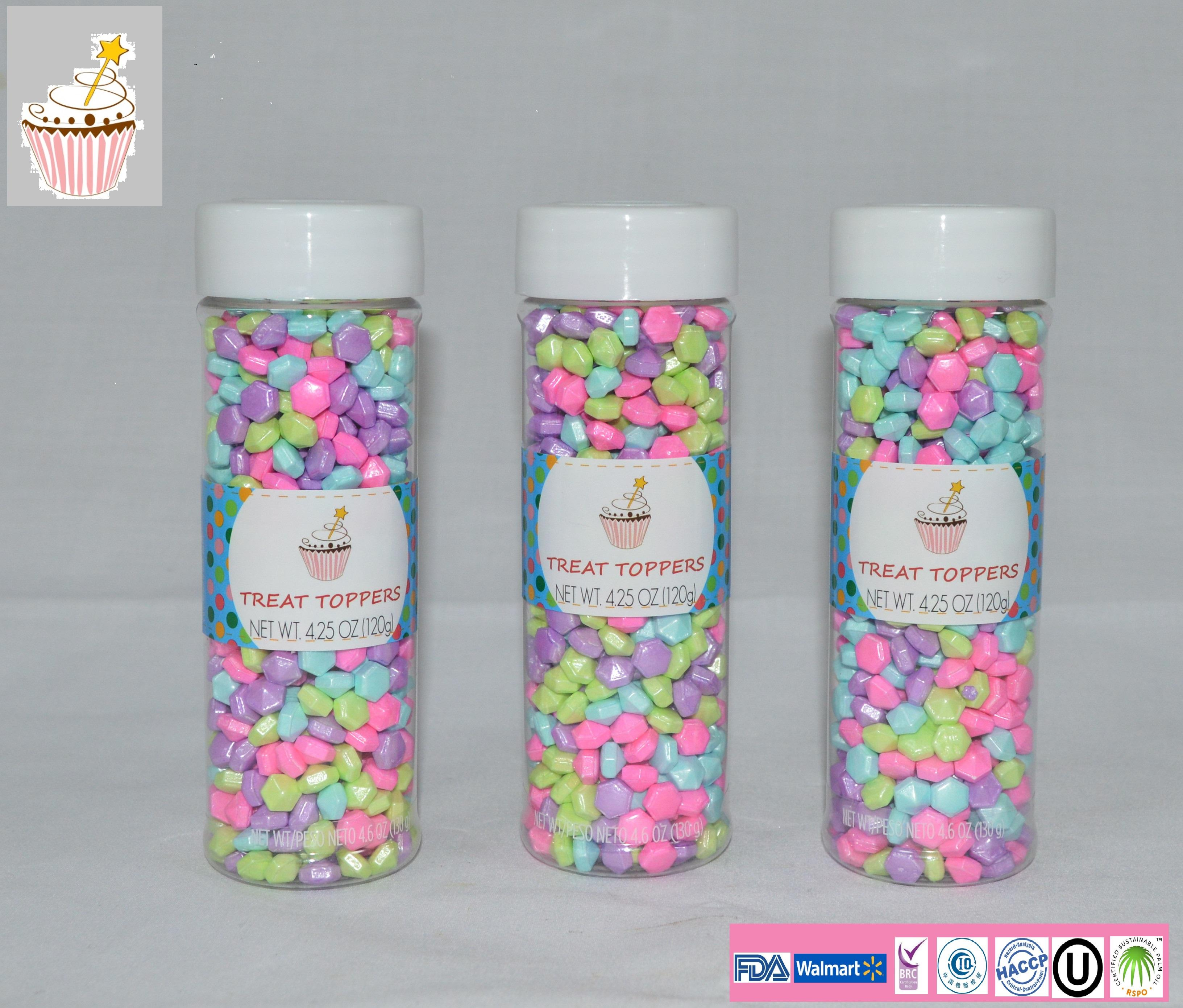 Shinny Rainbow Diamond-shaped candy edible cake sprinkles With Bottle