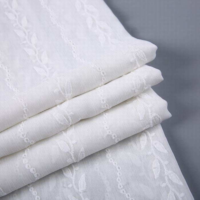 Leaf pattern in stock woven plain Dubai wholesale crepe chiffon embroidery fabric