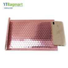 China Factory Custom Logo Foil Aluminium Mail Envelopes Rose Gold Small Poly Mailers With Bubble