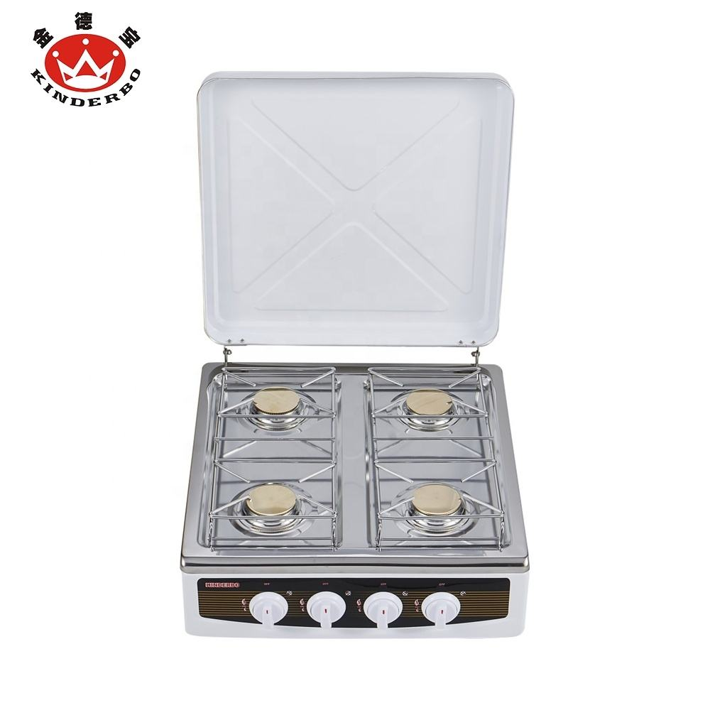 wholesale China cooktop family use full stainless steel top panel and stainless cover portable 4 brass burner gas stove