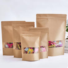 Heat seal zipper food grade stand up brown kraft paper bags for chia packing