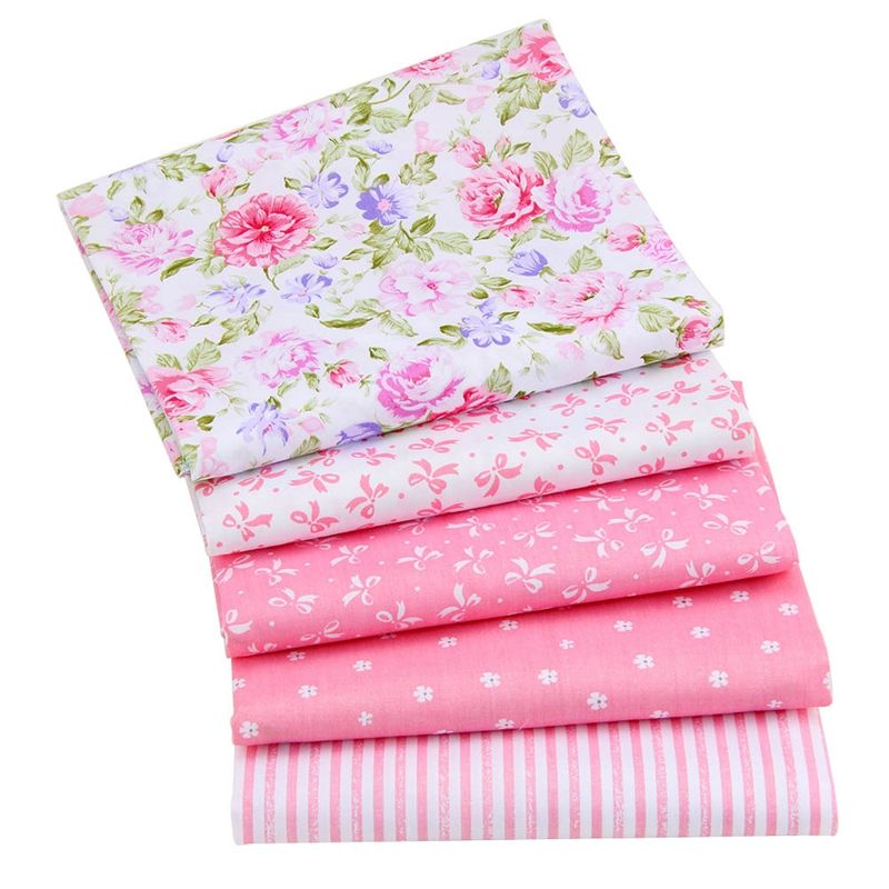 5 Different Pink Telas Cloth DIY Floral Cotton Fat Quarters Fabric Patchwork Bundle
