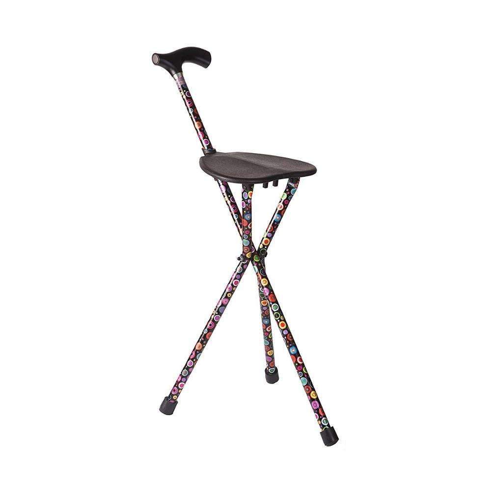 Mobility Aid Elderly Use Fashion Aluminum Folding Walking Cane Sticks With Seat CA239-1