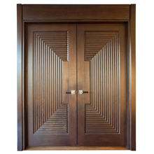 Transitional Style Walnut Solid Wood Front Main Double Entry Door Design For Houses