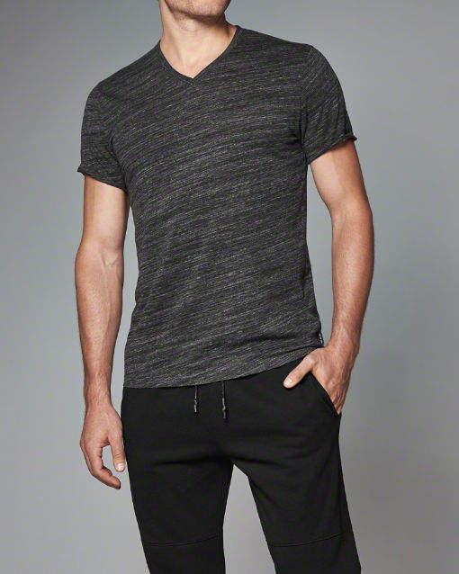 wholesale t shirt price china dark grey v-neck t-shirt black grain advanced apparel