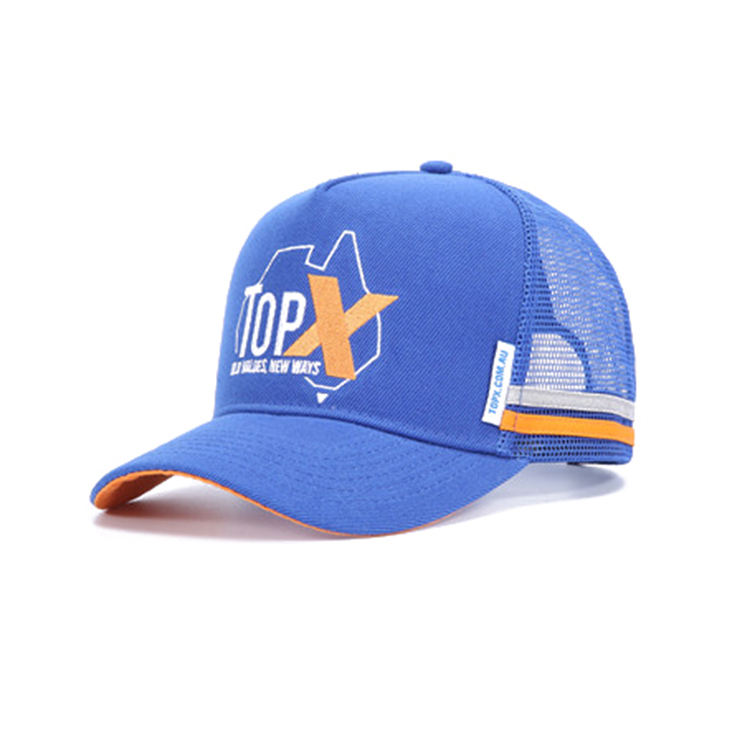 wholesale Custom high quality australia style acrylic high profile 5 panel embroidered trucker mesh cap with two stripes