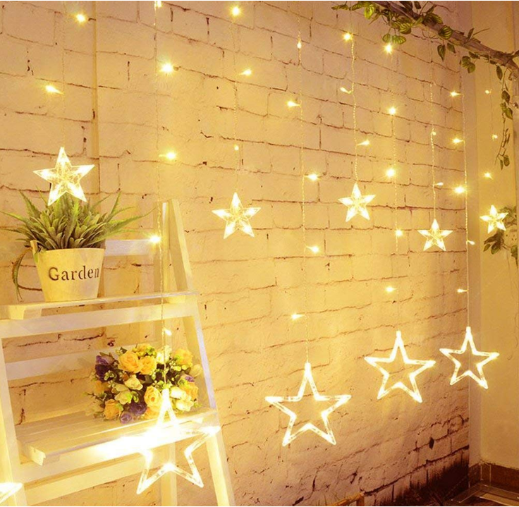 Twinkle Star 12 Stars 138 LED Curtain String Night Lights, with 8 Flashing Modes Decoration for Christmas, Wedding, Holiday