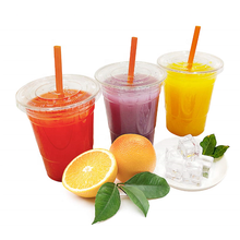 Custom printing food grade pp pet take away drink disposable clear  plastic juice cup with flat lids