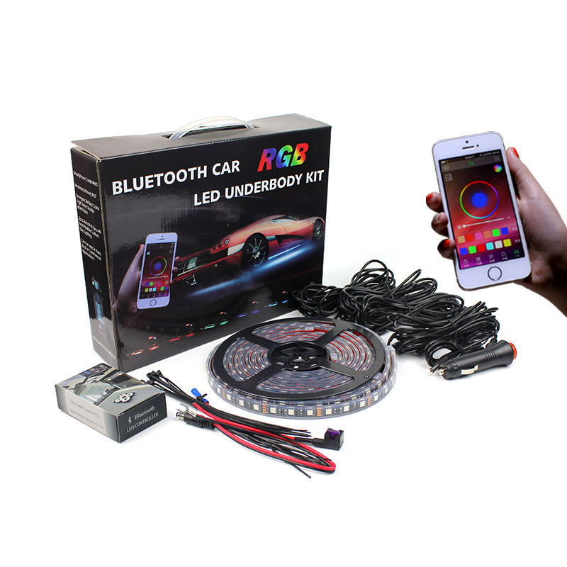 Bluetooth Rgb <span class=keywords><strong>Underbody</strong></span> Led Strip Verlichting 4 Pcs Smart Draadloze Led Strip Verlichting