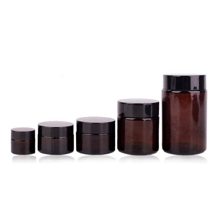 10ml 30ml 50ml 100ml 200ml cosmetics cream amber glass jar containers with cap