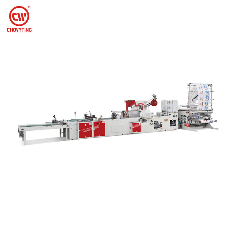 CW-800NJT Fully automatic plastic bag cutter high speed glue patch handle adidas shopping bag making machine