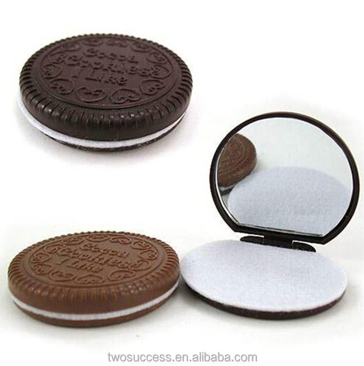 Professional Chocolate Biscuit Portable Round folding Plastic Cosmetic Unbreakable Comb Mirror Set