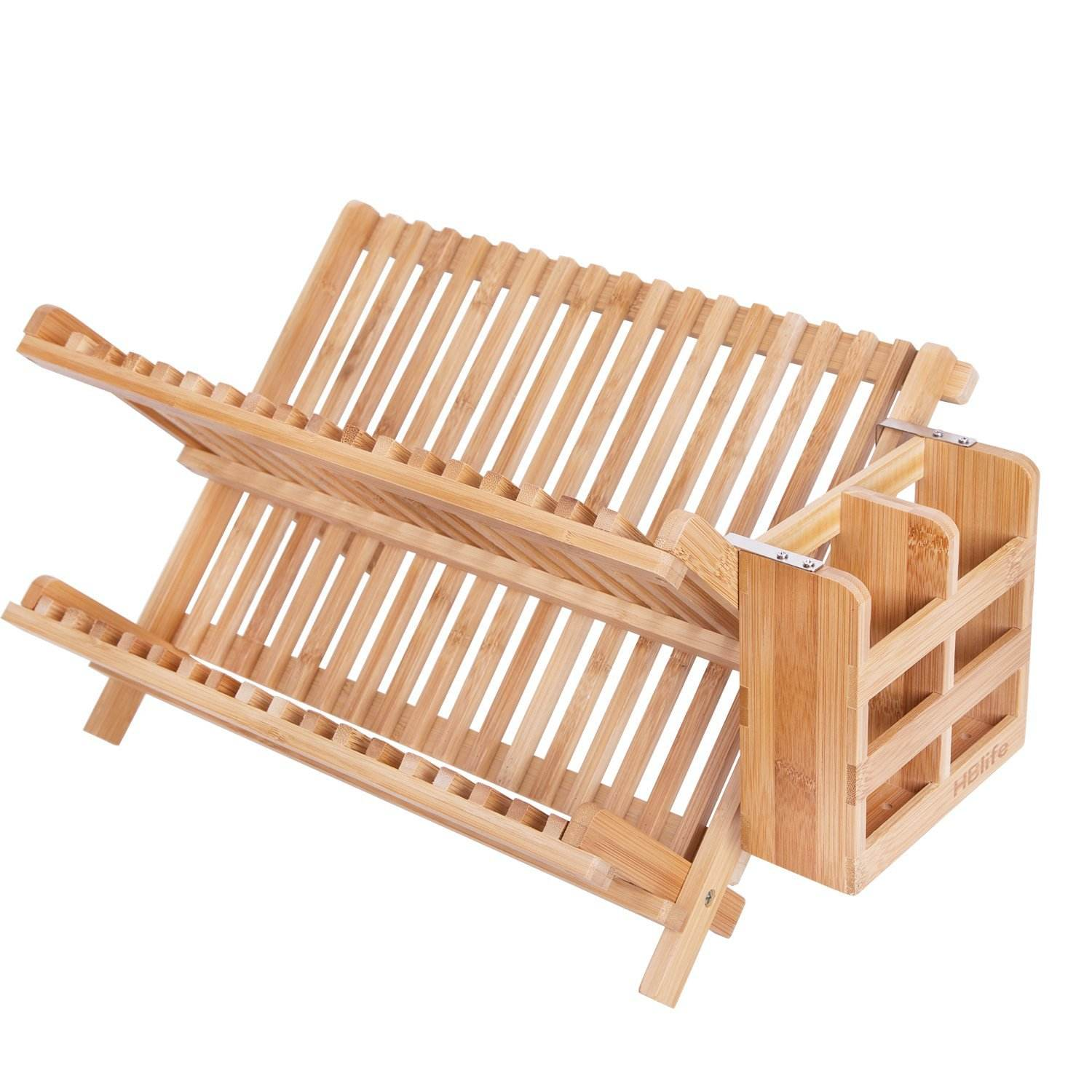 High Quality Easy Cleaning Thorough Draining Bamboo Double Collapsible Dish Drying Rack