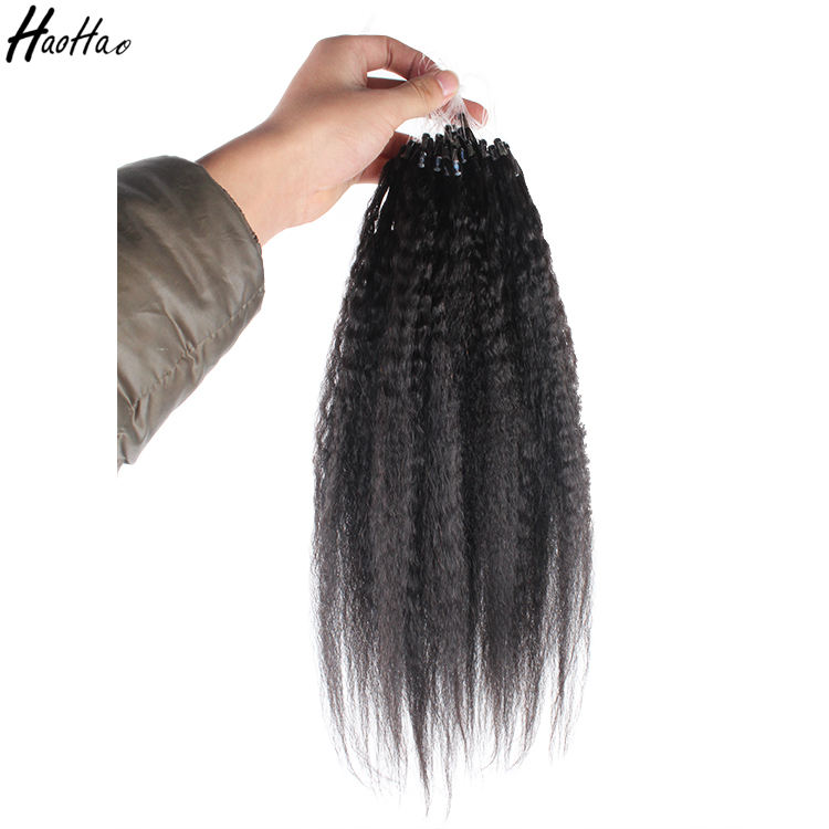 Human Kinky straight 100% remy double drawn Micro ring hair India extension hair for black women