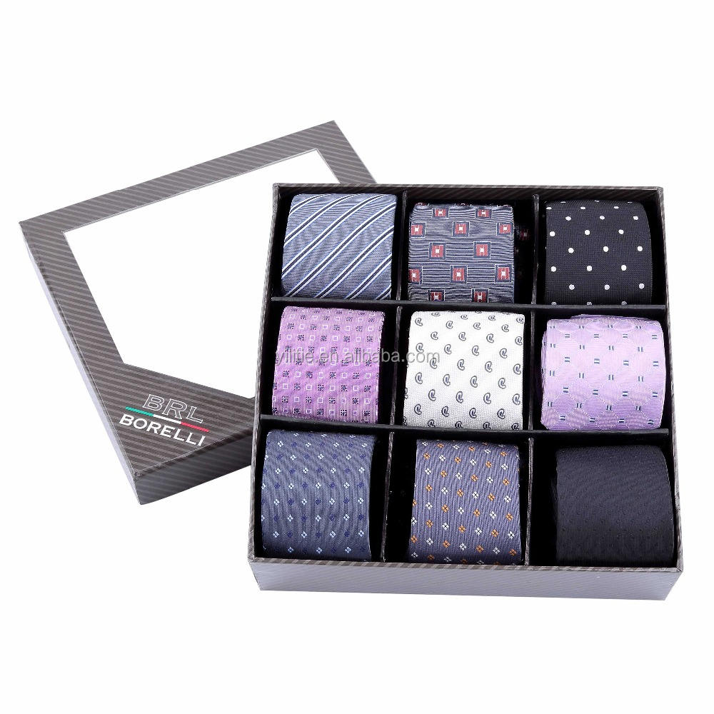 Hot sale Men's 100% polyester woven necktie sets, custom neck tie gift box sets