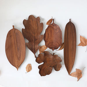 Leaf shape black walnut wooden tray creative Japanese wooden tray tea tray
