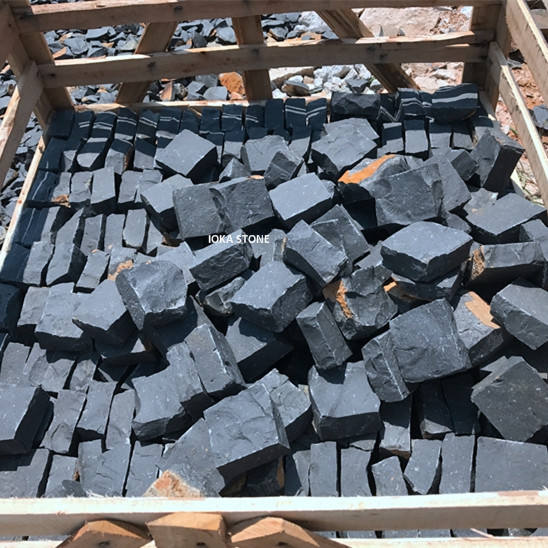 Outdoor driveway paving stone 50*50*50mm, black natural stone pavers