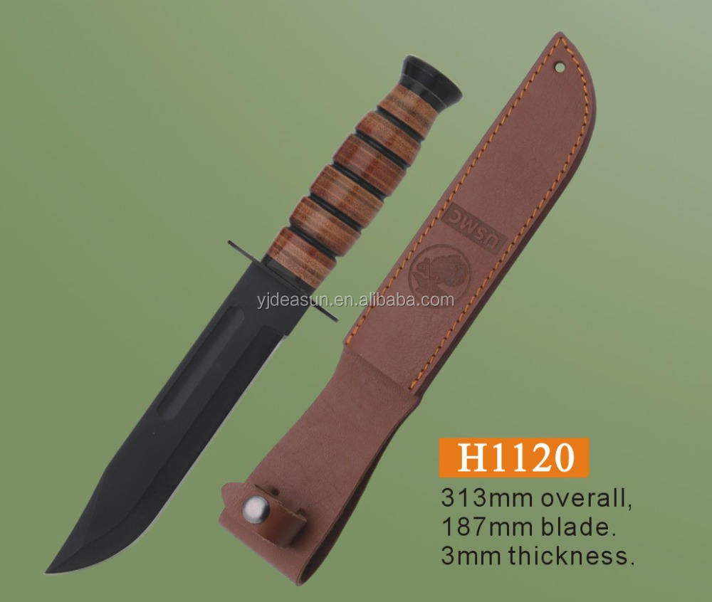 Hot leather handle stainless steel blade hunting saber knife